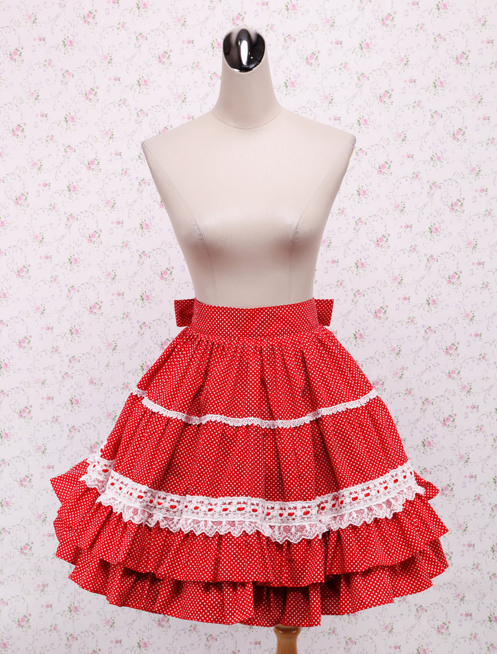 Cotton Red Lace Ruffles Bow Lolita Skirt