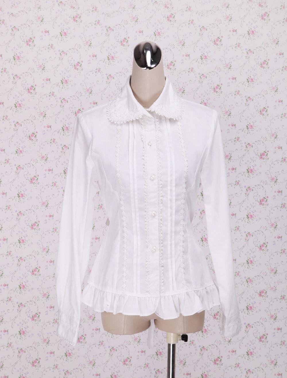 White Cotton Lolita Blouse Long Sleeves Waist Belt Ruffles Trim