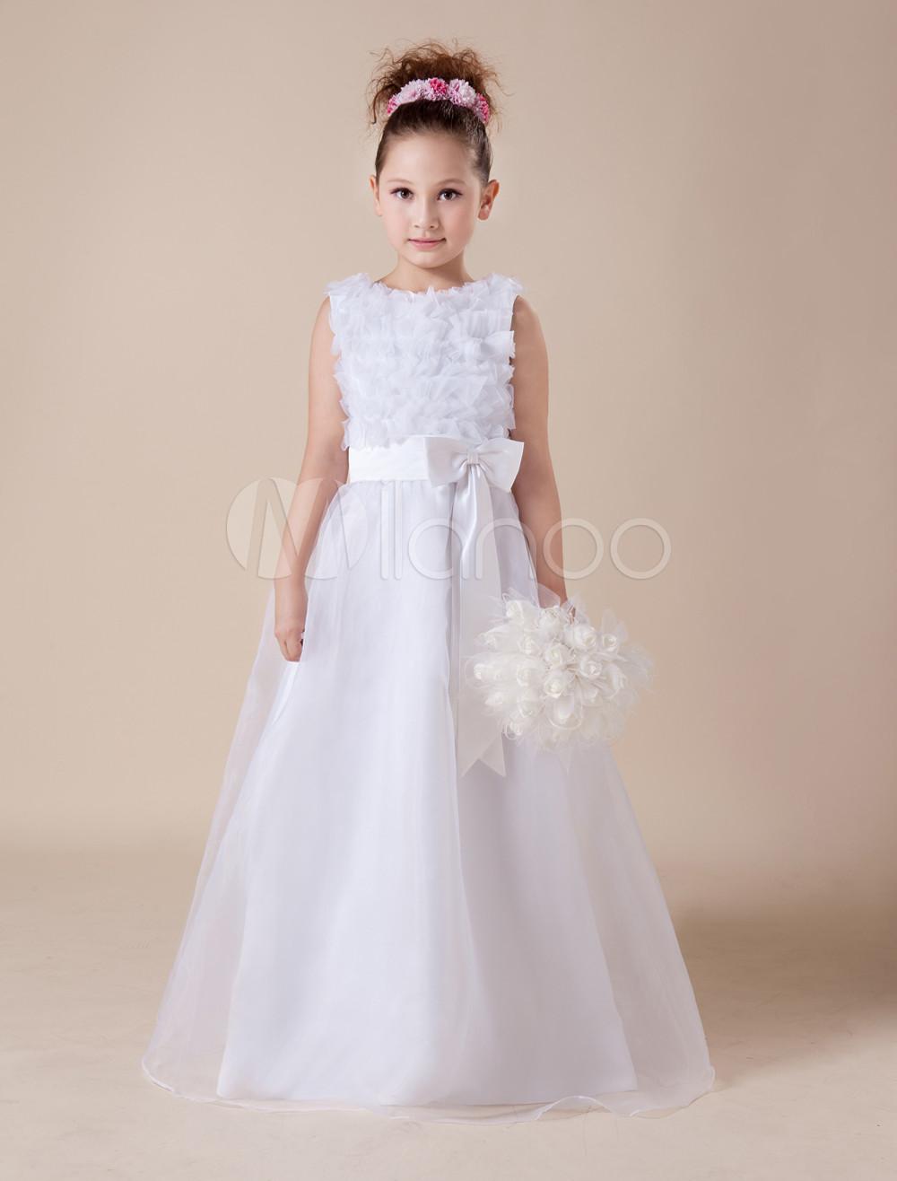 White Flower Girl Dress Floor-Length Sash Bow Tulle  Dress