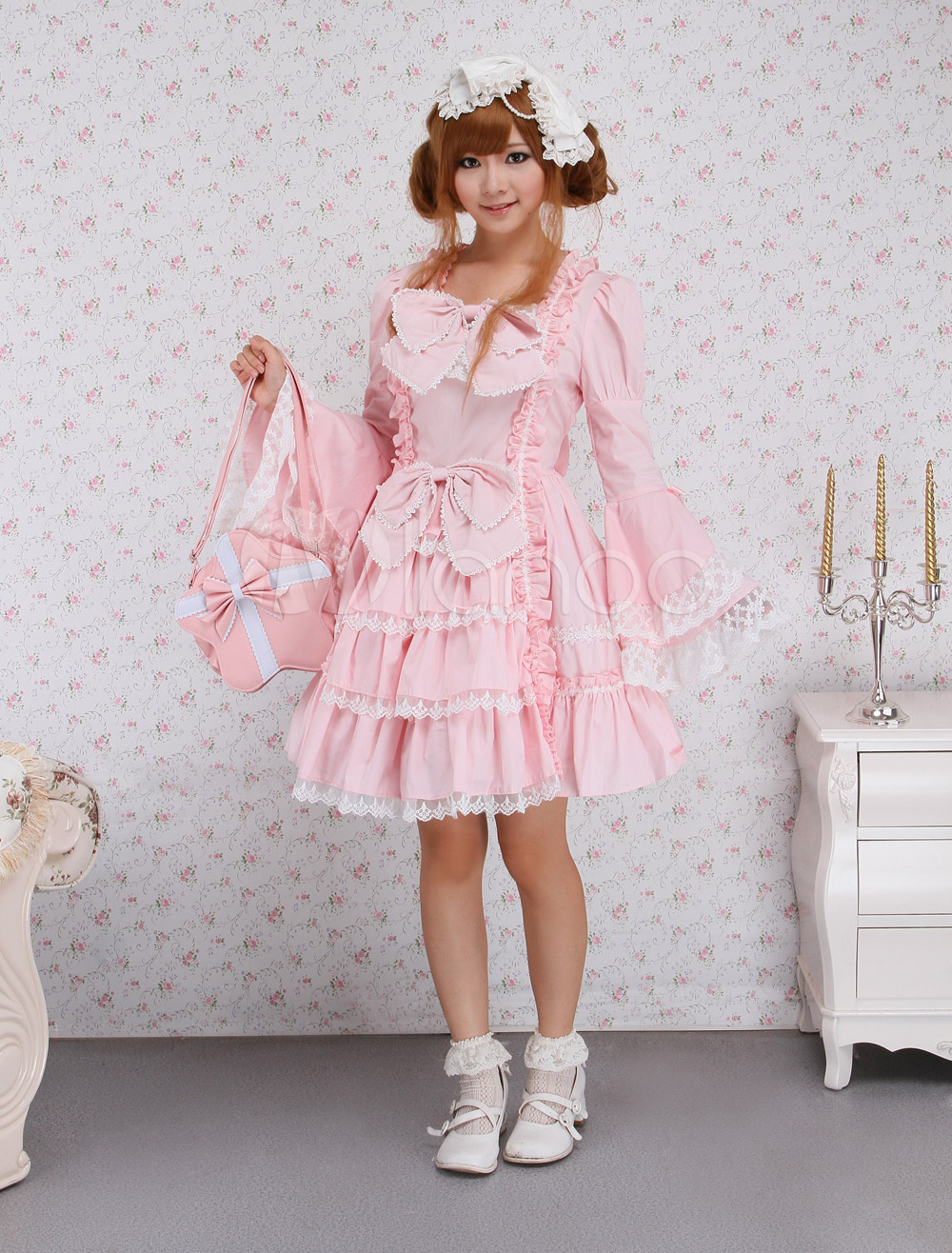 Buy Light Sweet Classic Bow Lace Ruffles Cotton Lolita Dress for $92.99 in Milanoo store