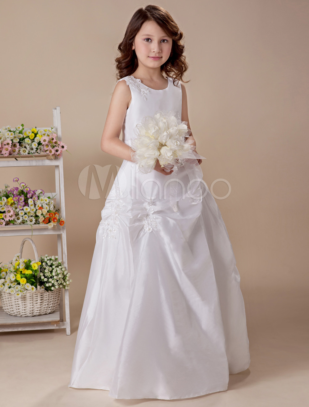 Sleeveless Ruched Bottom Taffeta Organza Flower Girl Dress