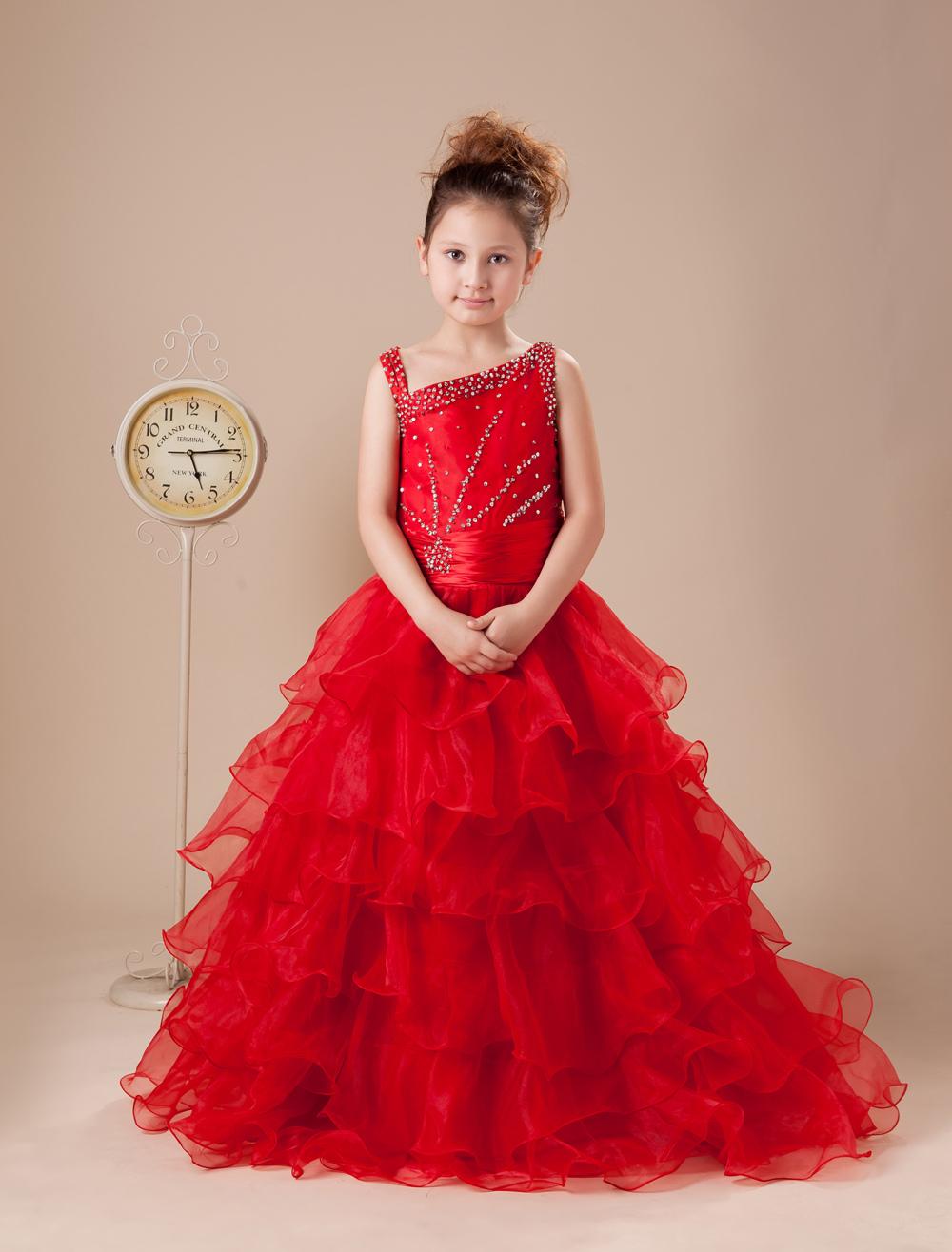 Vestido Formal Para Niñas De Tul Rojo