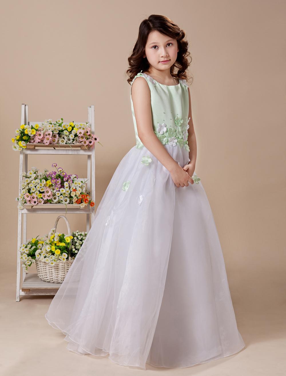 81f265691a1 Beauteous White A-line Jewel Satin Floor Length Flower Girl Dress -  Milanoo.com