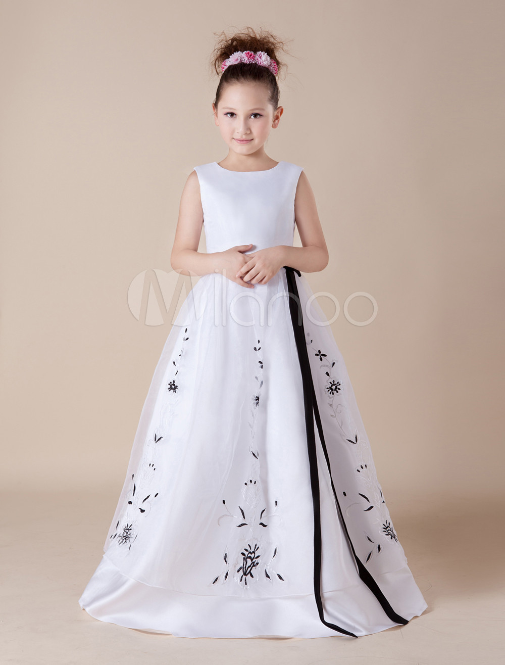 19667afc9c ... Cute White Embroidery Sash Satin Organza Flower Girl Dress-No.8. 12.  32%OFF. Color White