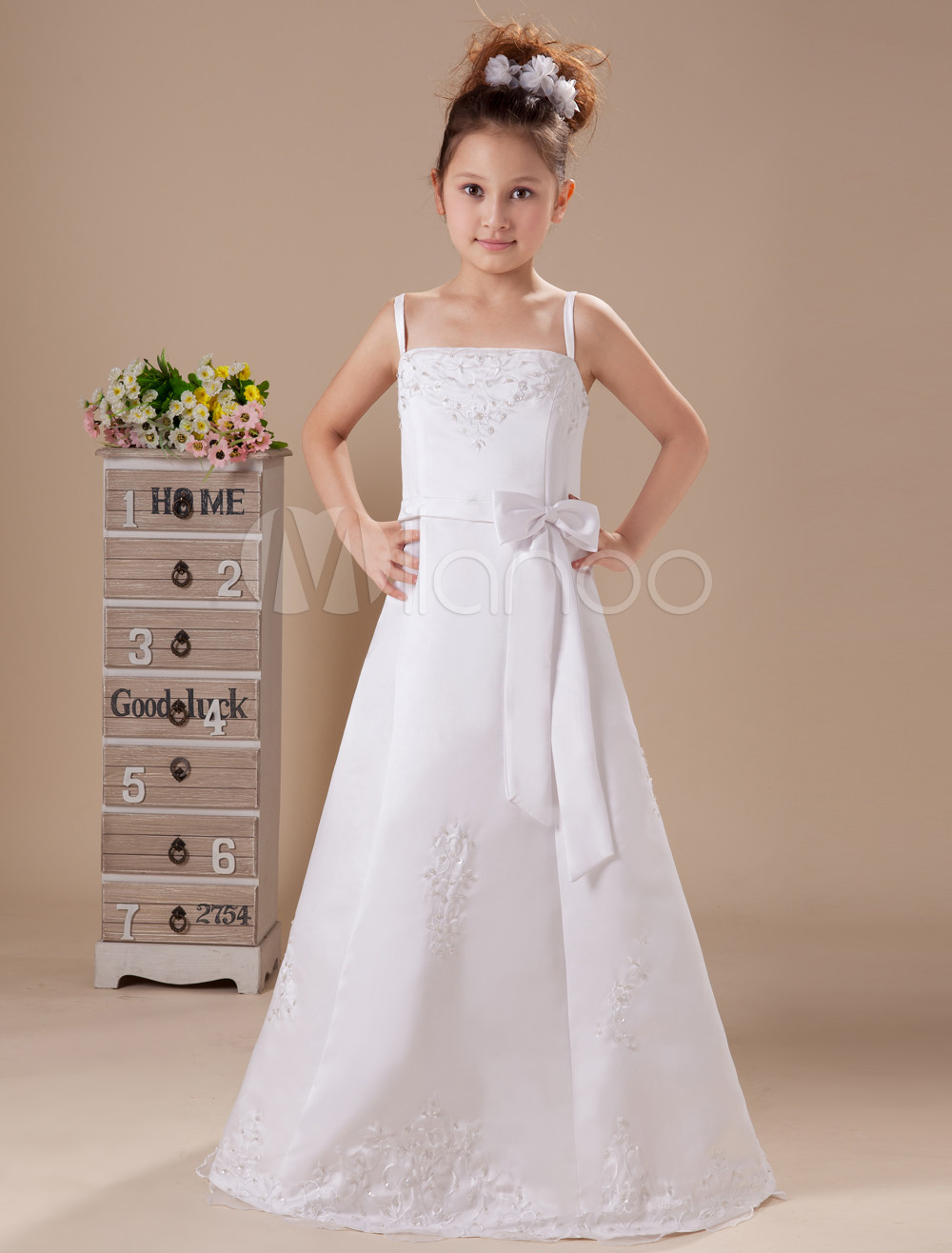 White Embroidery Satin Flower Girl Dress