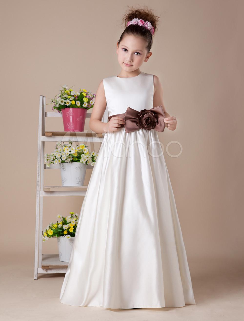 White Sleeveless Bow Sash Satin Flower Girl Dress