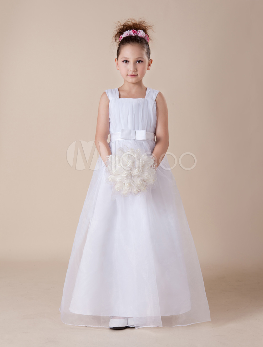 Romantic White Sleeveless Satin Organza Flower Girl Dress