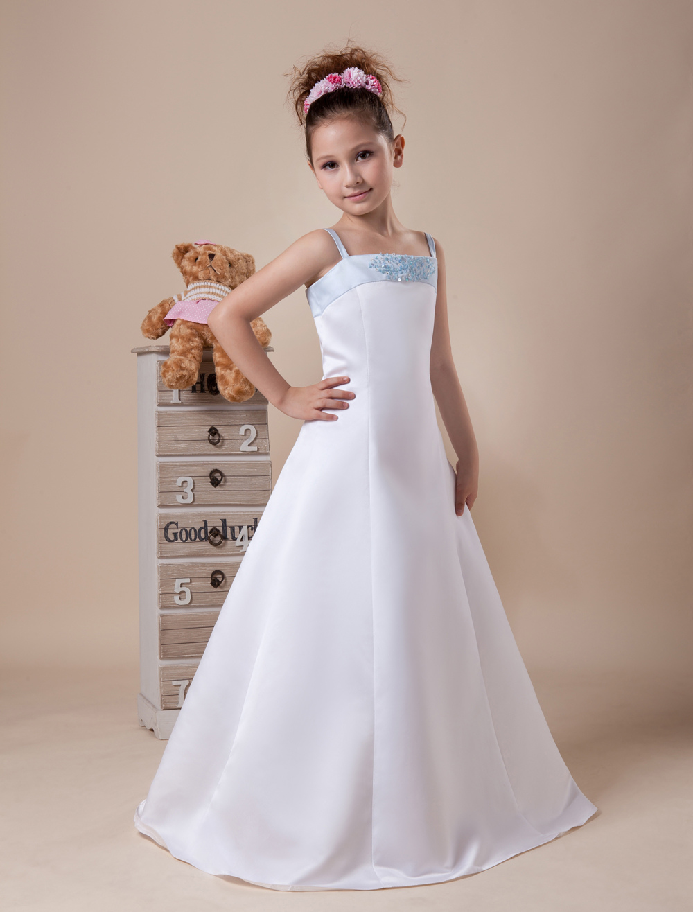 White Flower Girl Dress Bow Spaghetti Straps Satin Dress Milanoo