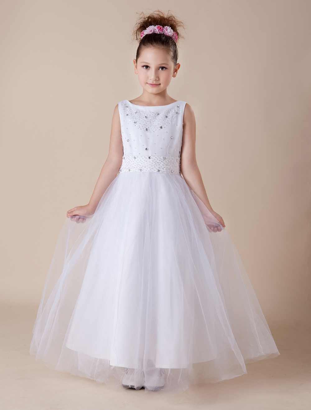 Sweet A-line White Satin Ankle-Length First Communion Dress