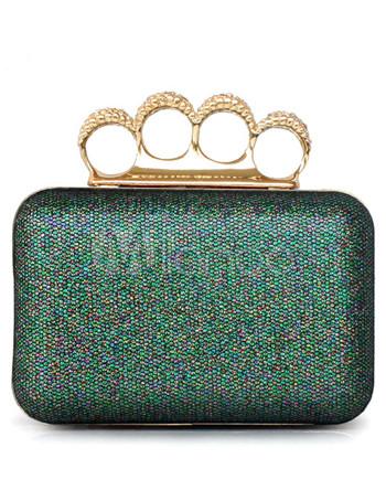 Green Metal Chain Bridal Wedding Handbag
