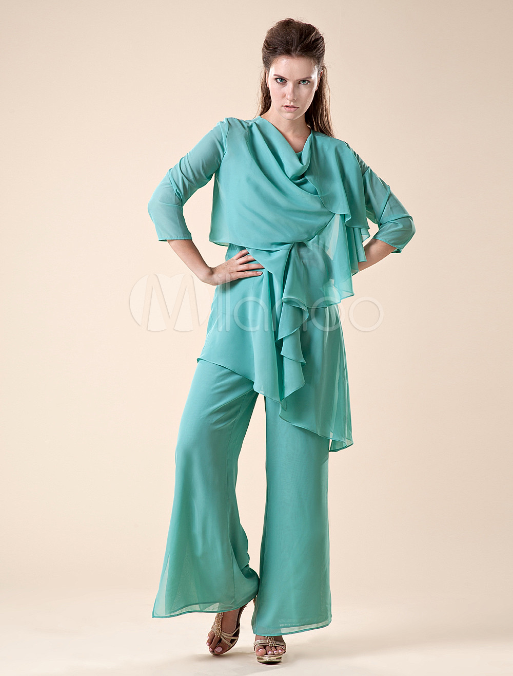 Mother Of The Bride Pant Suits Turquoise Chiffon Party Outfit Set In 3 Piece