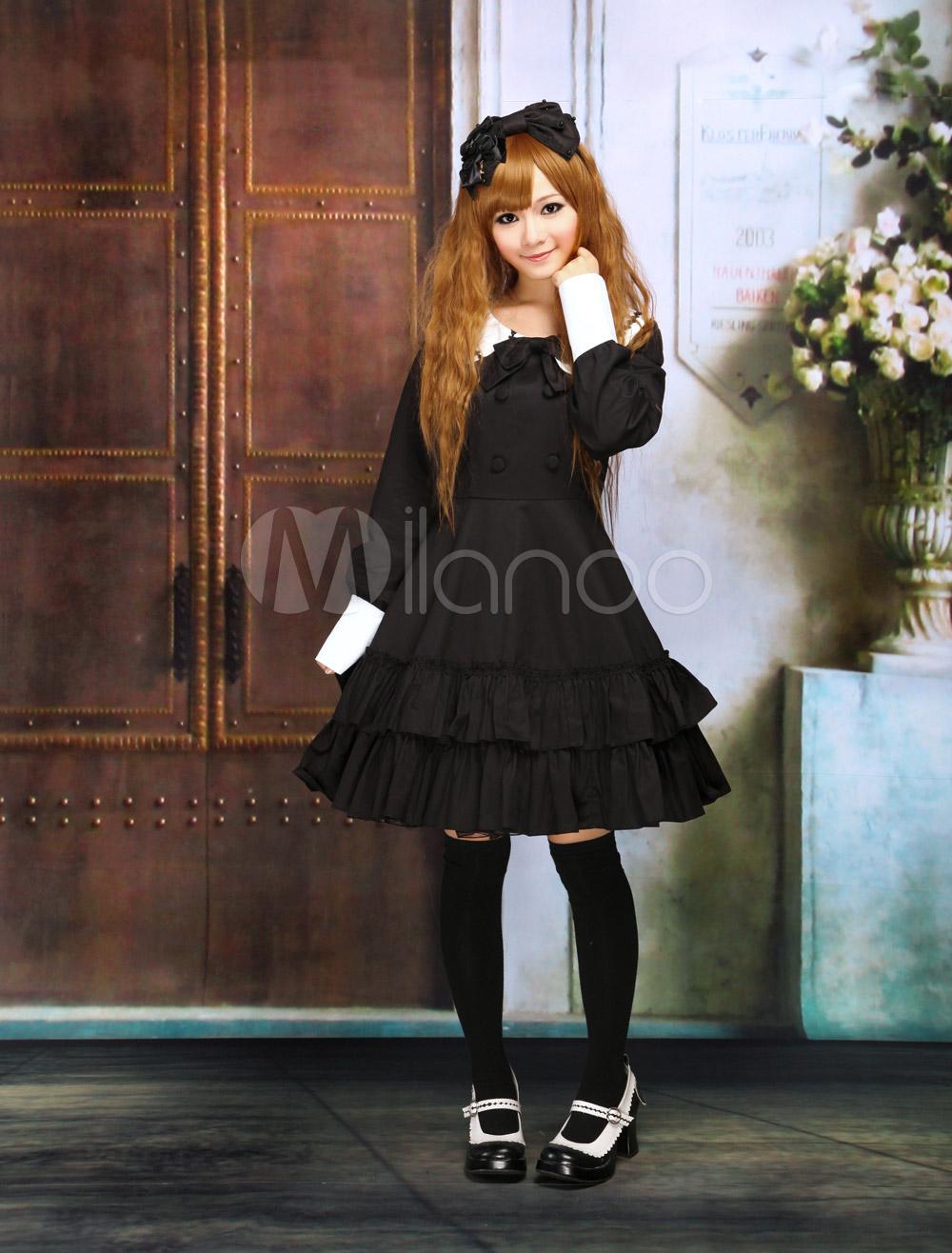 Buy Cotton Black Lolita OP Dress Long Sleeves College School Style Ruffles for $80.99 in Milanoo store