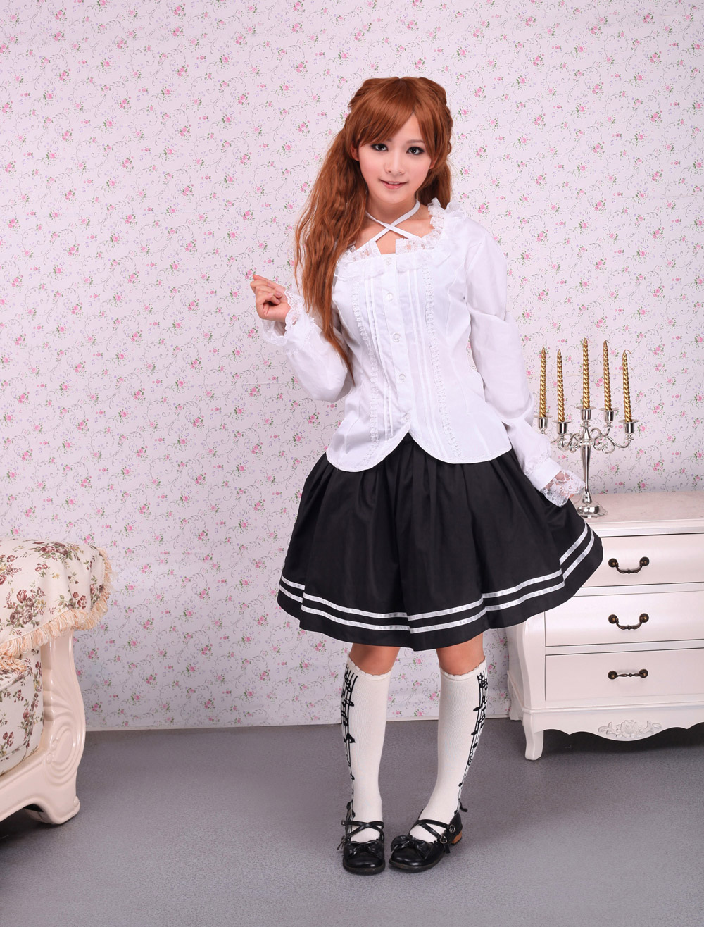 Buy White Cotton Lolita Blouse Long Sleeves Lace Trim Neck Straps for $40.49 in Milanoo store