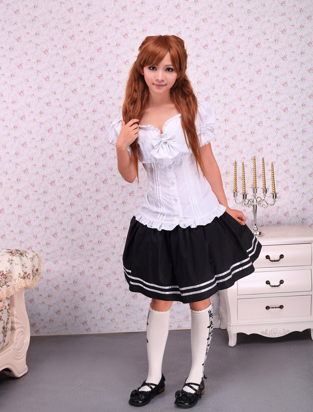 Buy Sweet White Lolita Blouse Short Sleeves Lace Trim Bow Ruffles Sexy Blouse for $41.99 in Milanoo store