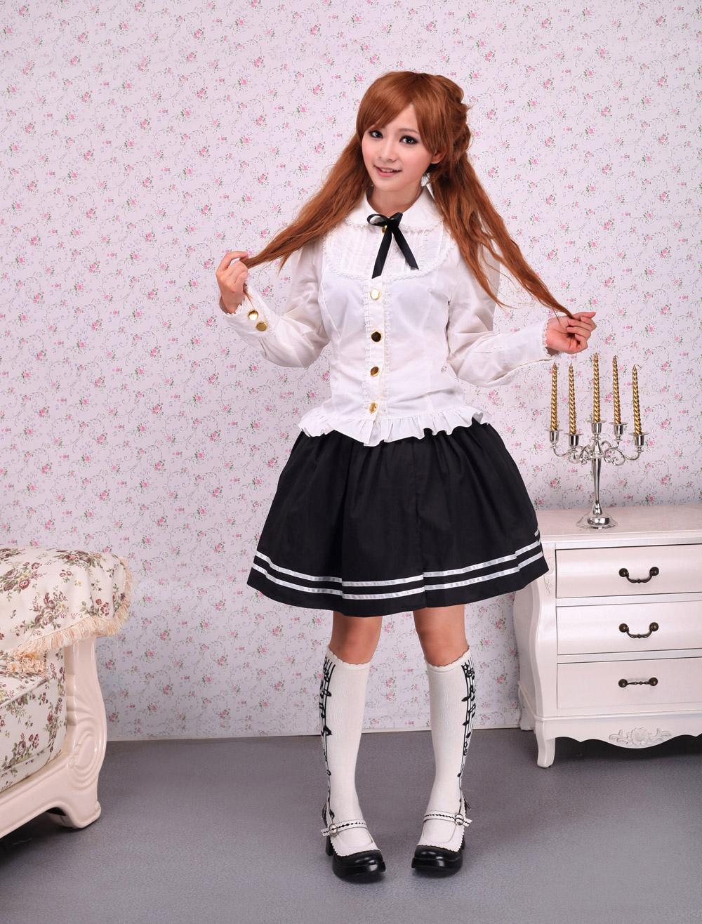Buy Sweet White Cotton Lolita Blouse Long Sleeves Lace Trim Bow for $38.63 in Milanoo store