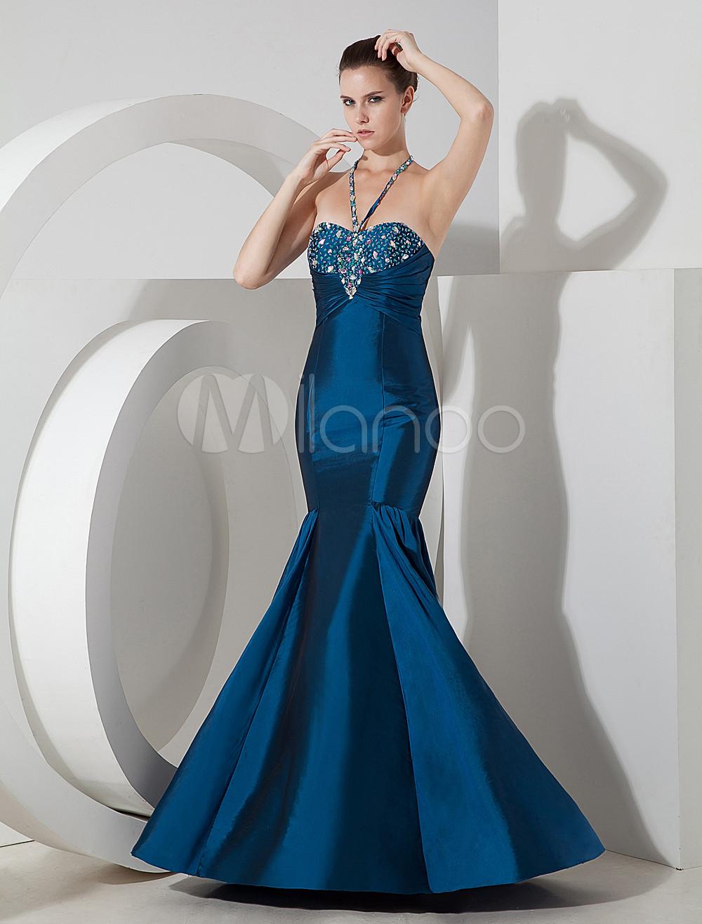 Amazing Mermaid Blue Satin Floor Length Prom Dress