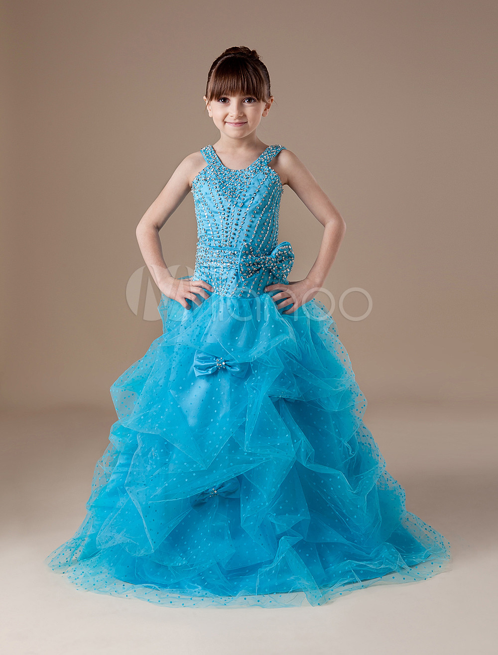 b30035a1d28 Toddler s Pageant Dress Aqua Organza Straps Beading Bow Ball Gown Floor  Length Flower Girl Dress - Milanoo.com