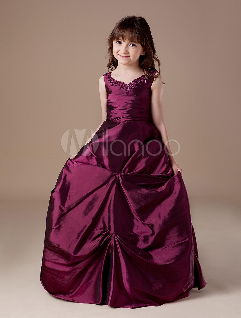 Flower Girl Dress Taffeta Ball Gown Burgundy Ruched Beading Kids Pageant Dress V Neck Floor Length First Communion Dress