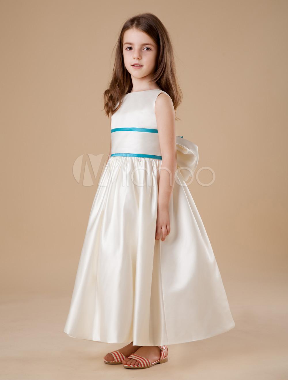 Buy Modern Ivory Sleeveless Sash Satin Flower Girl Dress for $64.79 in Milanoo store