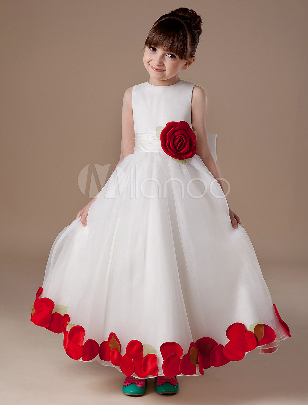 White Flower Girl Dress Bow Applique Sash Princess Dress