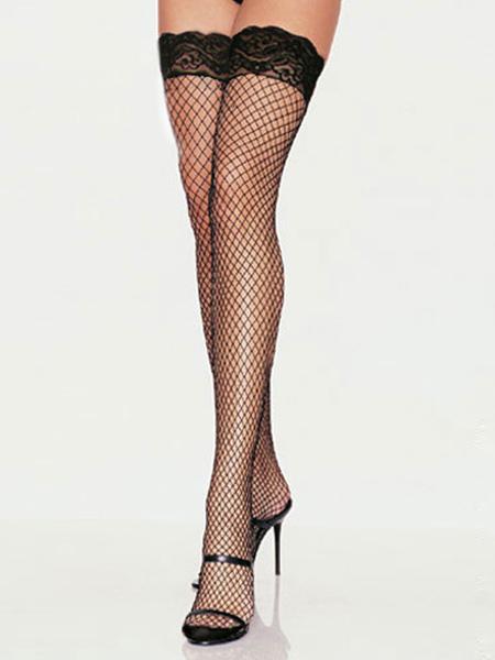 Scalloped Trim Fishnet Nylon Woman's Stockings