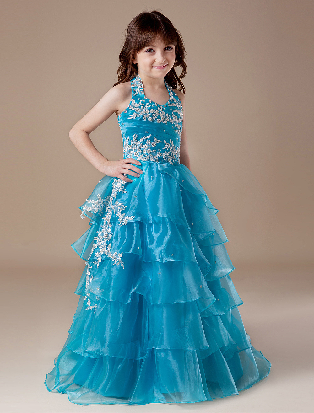 Toddler's Pageant Dress Ball Gown Floor Length Teal Organza Halter Applique Tiered  Flower Girl Dress