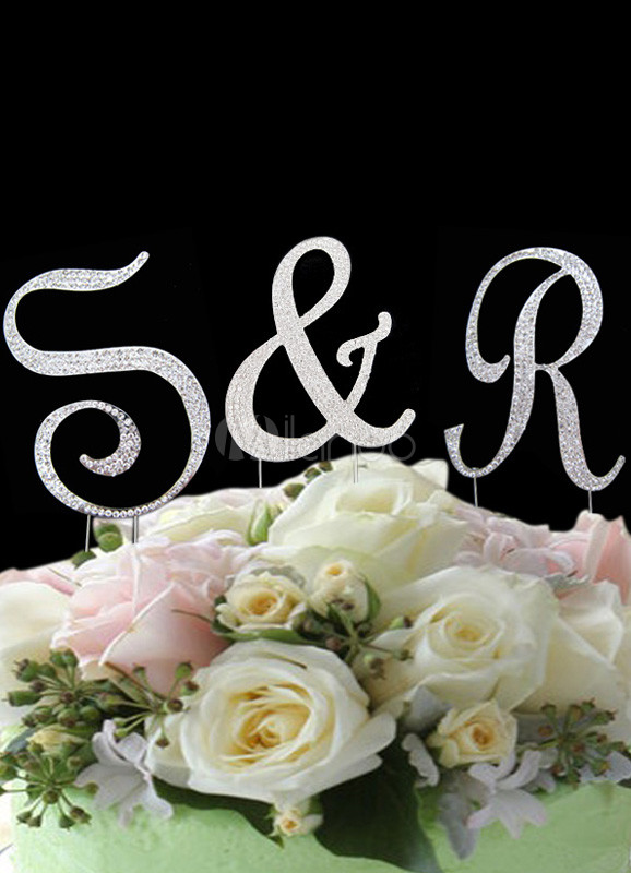 Buy Silver Letter&Number Beaded Wedding Cake Toppers for $9.49 in Milanoo store