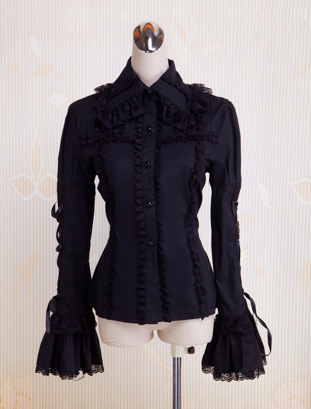 Buy Black Cotton Lolita Blouse Long Hime Sleeves Lace Up Lace Trim Turn-down Collar for $43.99 in Milanoo store