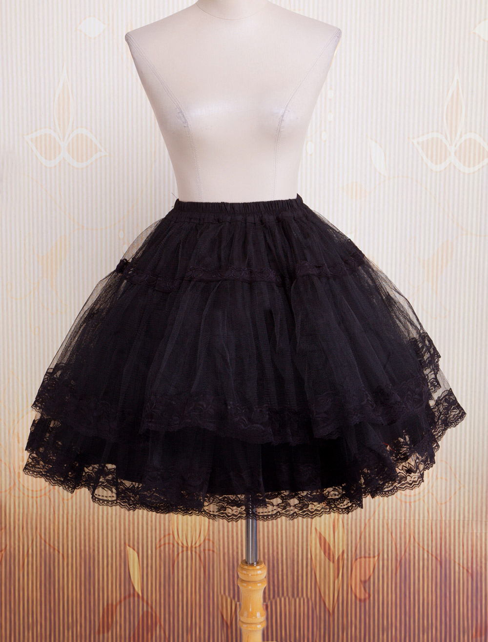 Bell Shape Black Organza Lolita Petticoat Lace Trim