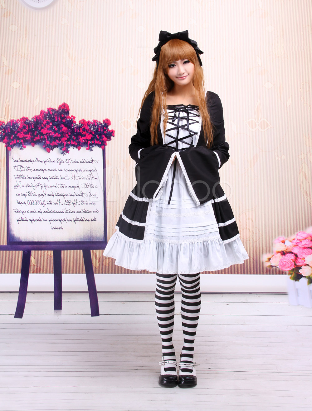 Buy Cotton Black And White Long Sleeves Cotton Gothic Lolita Dress for $87.99 in Milanoo store