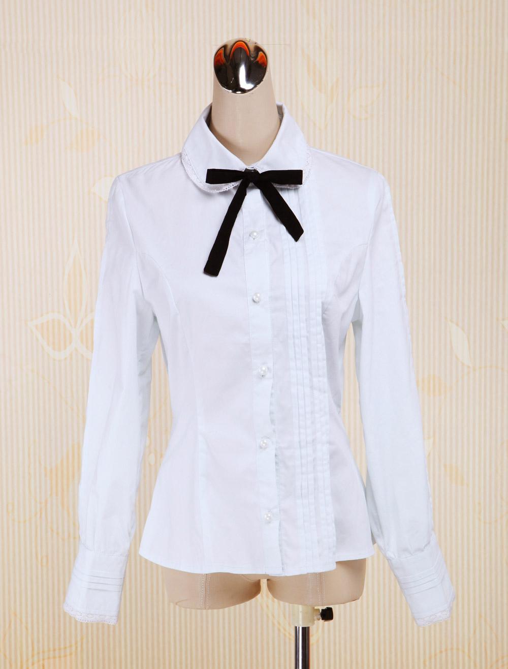 White Cotton Lolita Blouse Long Sleeves Turn-down Collar Bow