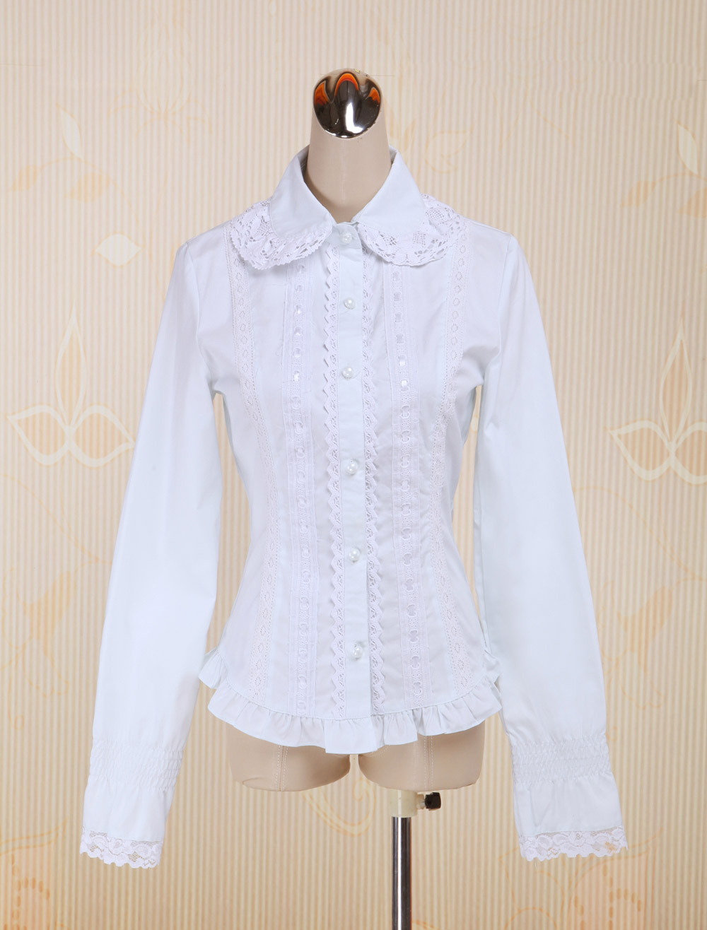 Buy White Cotton Lolita Blouse Long Sleeves Lace Trim Turn-down Collar for $42.29 in Milanoo store