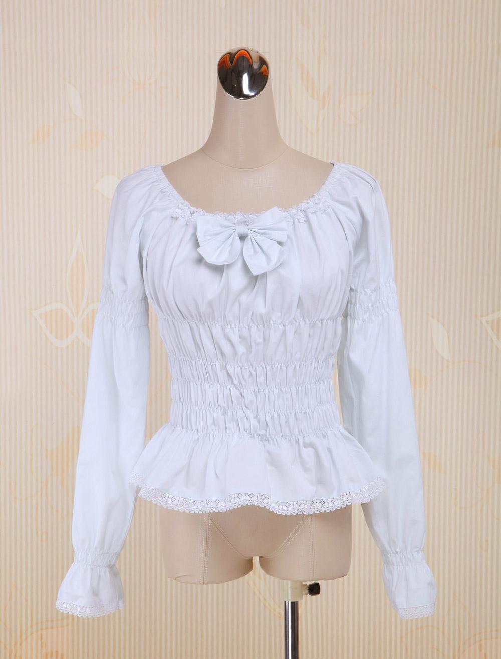 White Cotton Lolita Blouse Long Sleeves Shirring Bow Round Neck