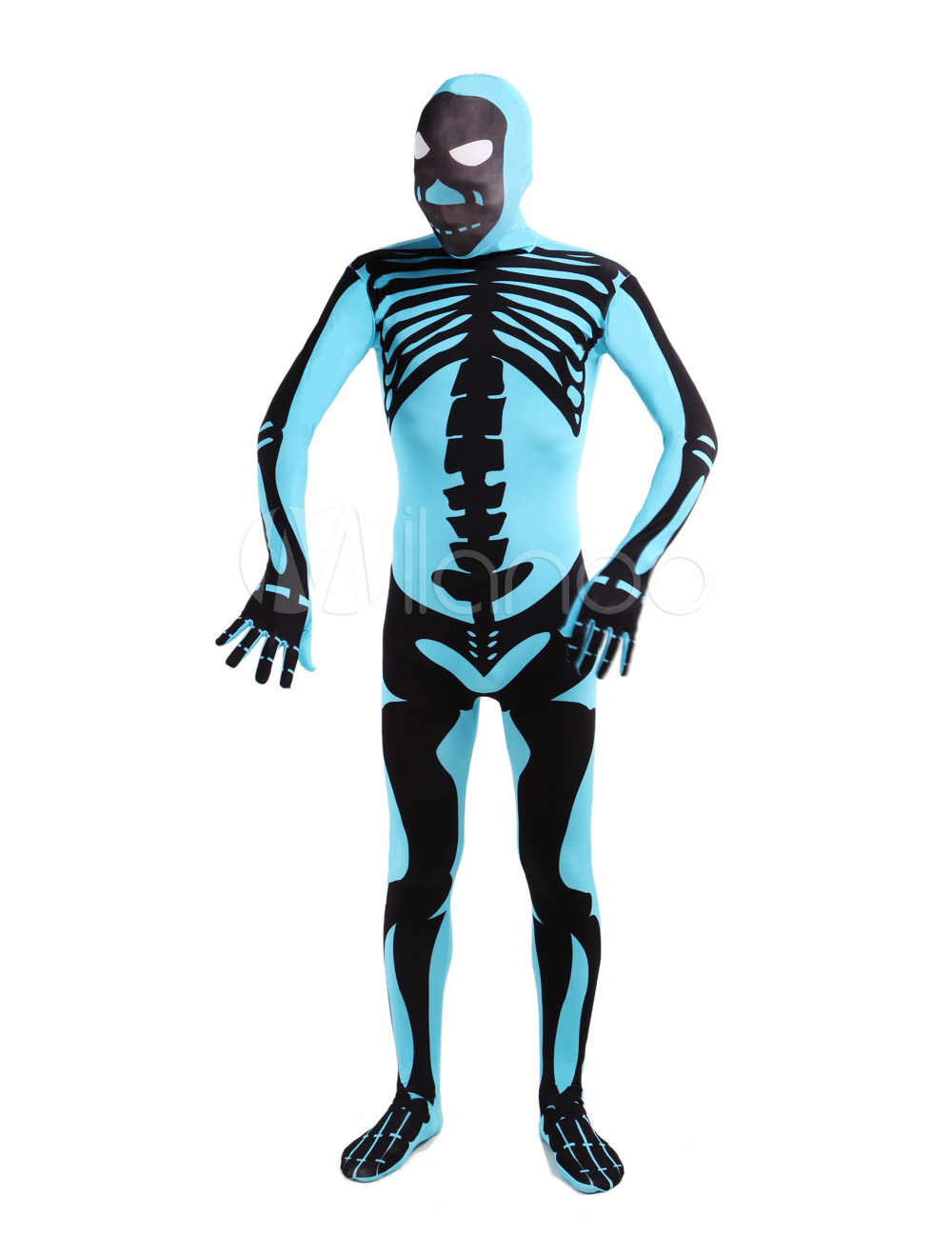 Buy Blue Human Skeleton Lycra Spandex Unisex Zentai Suit Halloween cosplay costume Halloween for $58.89 in Milanoo store