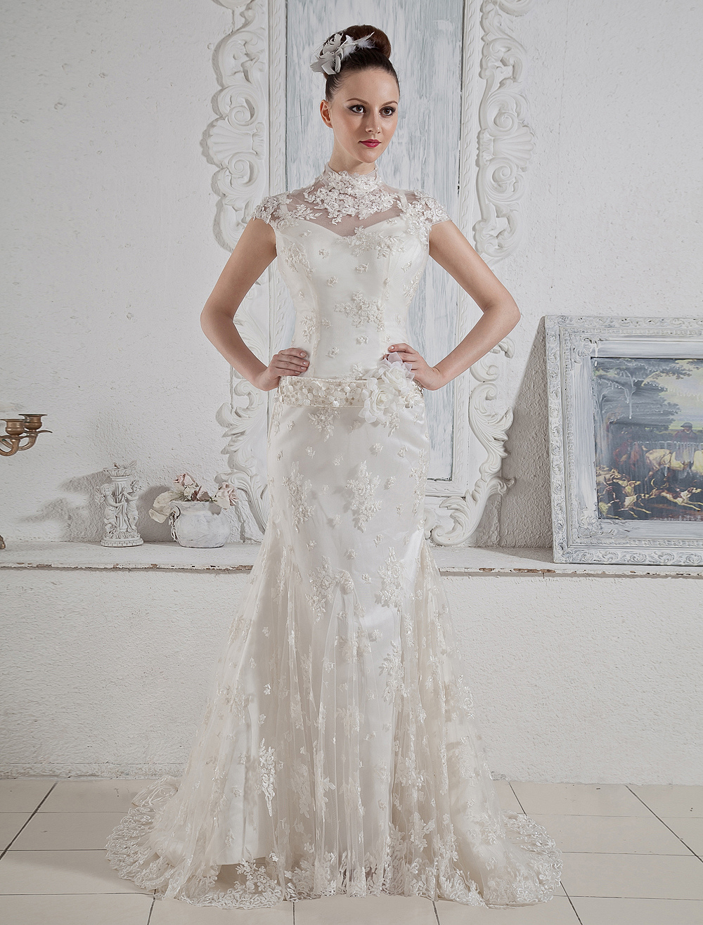 Attractive Ivory Mermaid Round Collar Lace Sweep Wedding Dress