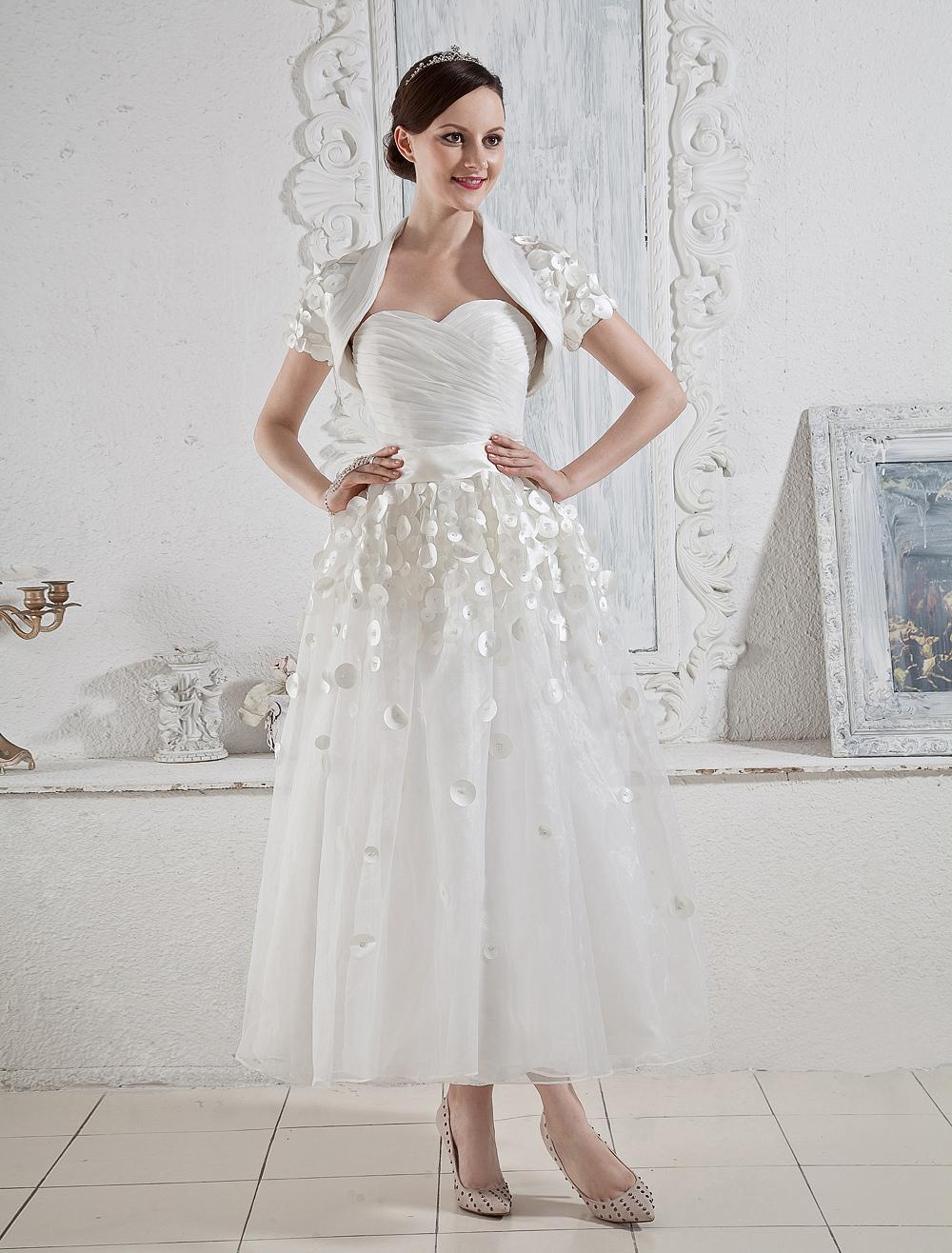 White wedding dresses short strapless bridal dress sash for Sweetheart tea length wedding dress