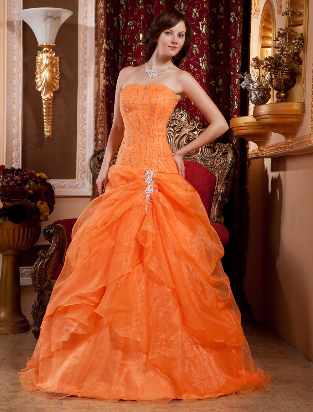 Ball Gown Orange Strapless Quinceanera Dress - Milanoo.com