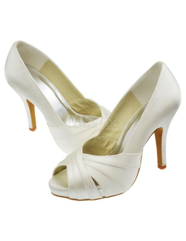 Satin Ivory Wedding Shoes   Ivory High Heel Satin Wedding Shoes Milanoo Com