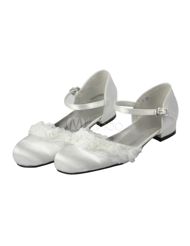 White lace tip top satin flowergirl shoes milanoo white lace tip top satin flowergirl shoes no4 mightylinksfo