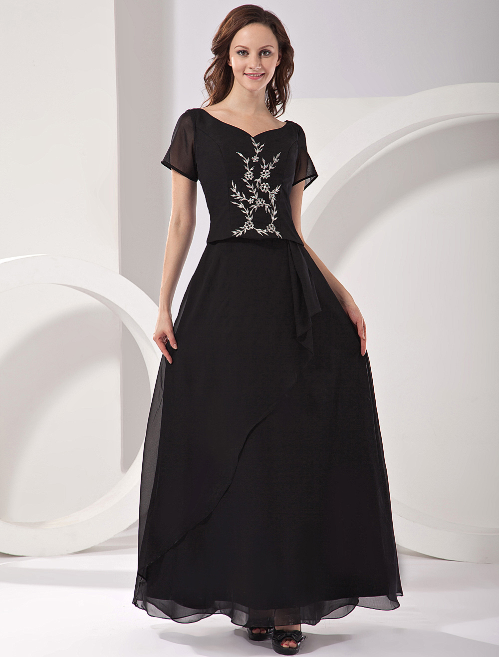 Buy Fashion Black A-line Jewel Neck Short Sleeves Fashion Dress For Mother of the Bride for $104.39 in Milanoo store