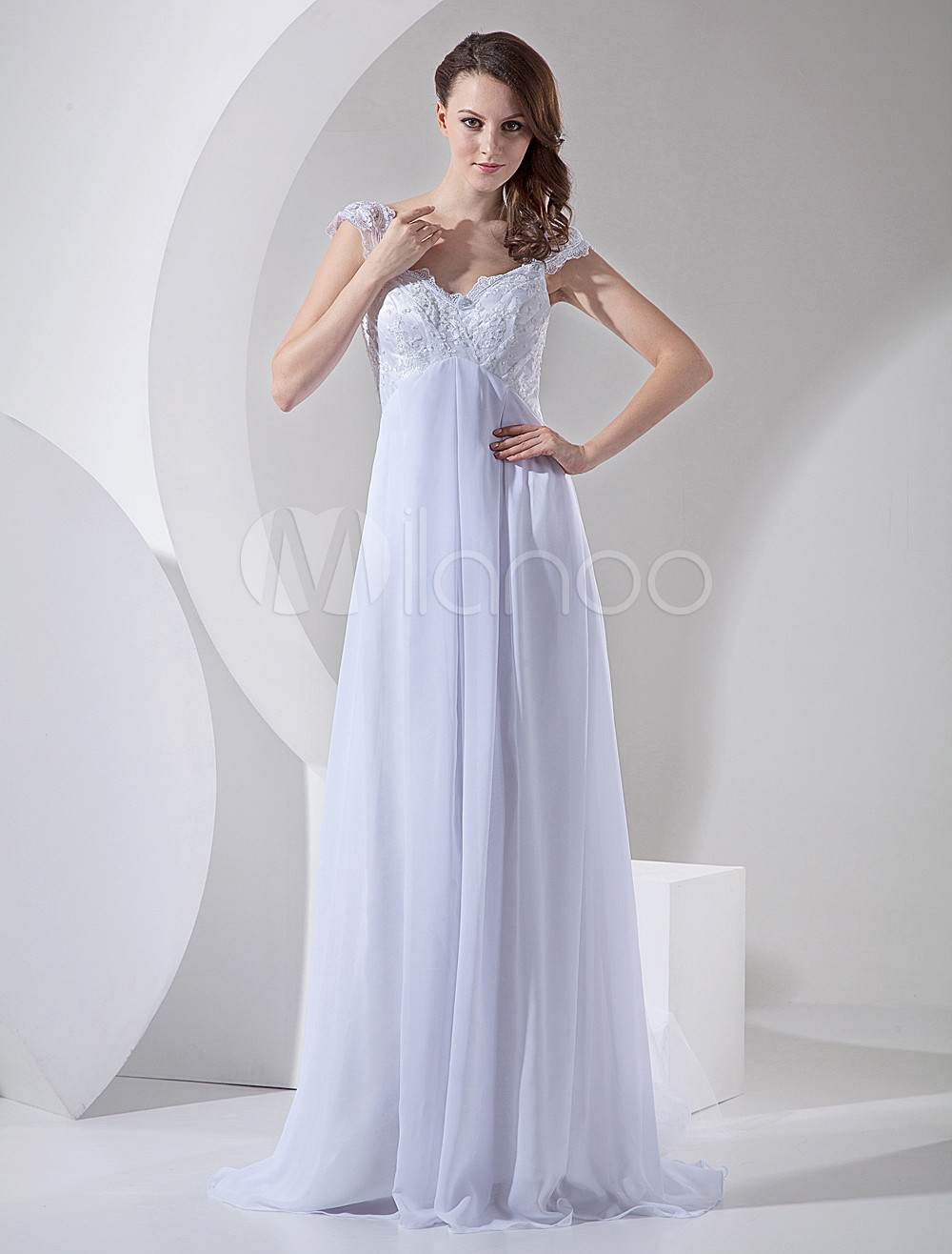 a0f22e74dd White Wedding Dresses Chiffon V Neck Beach Bridal Dress Lace Beading Empire  Waist Summer Wedding Gown With Train - Milanoo.com