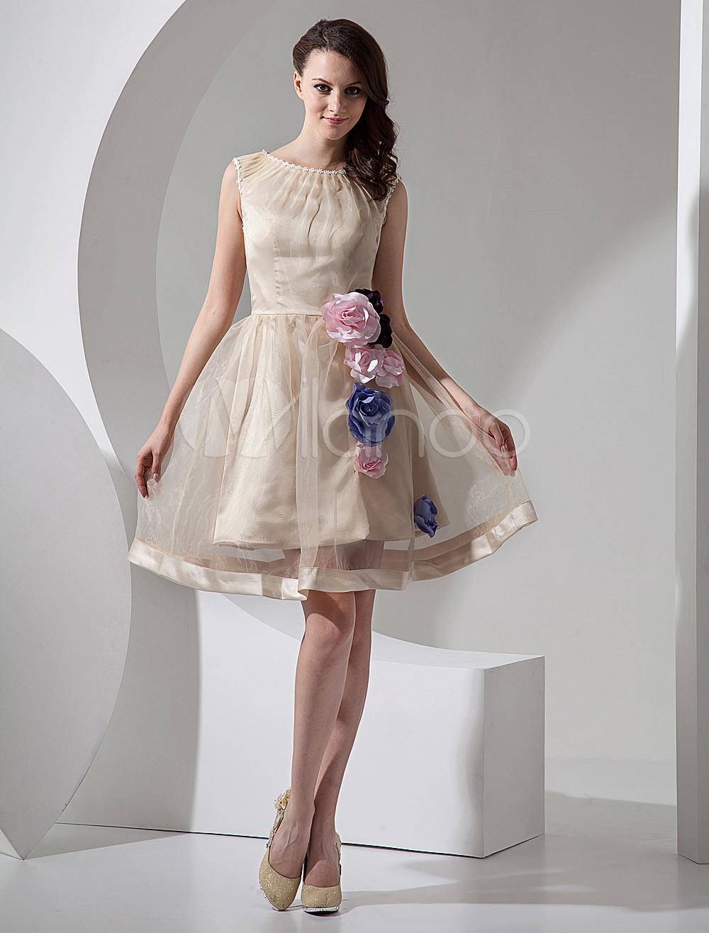 Champagne a line short organza mini wedding dress for Short champagne wedding dress