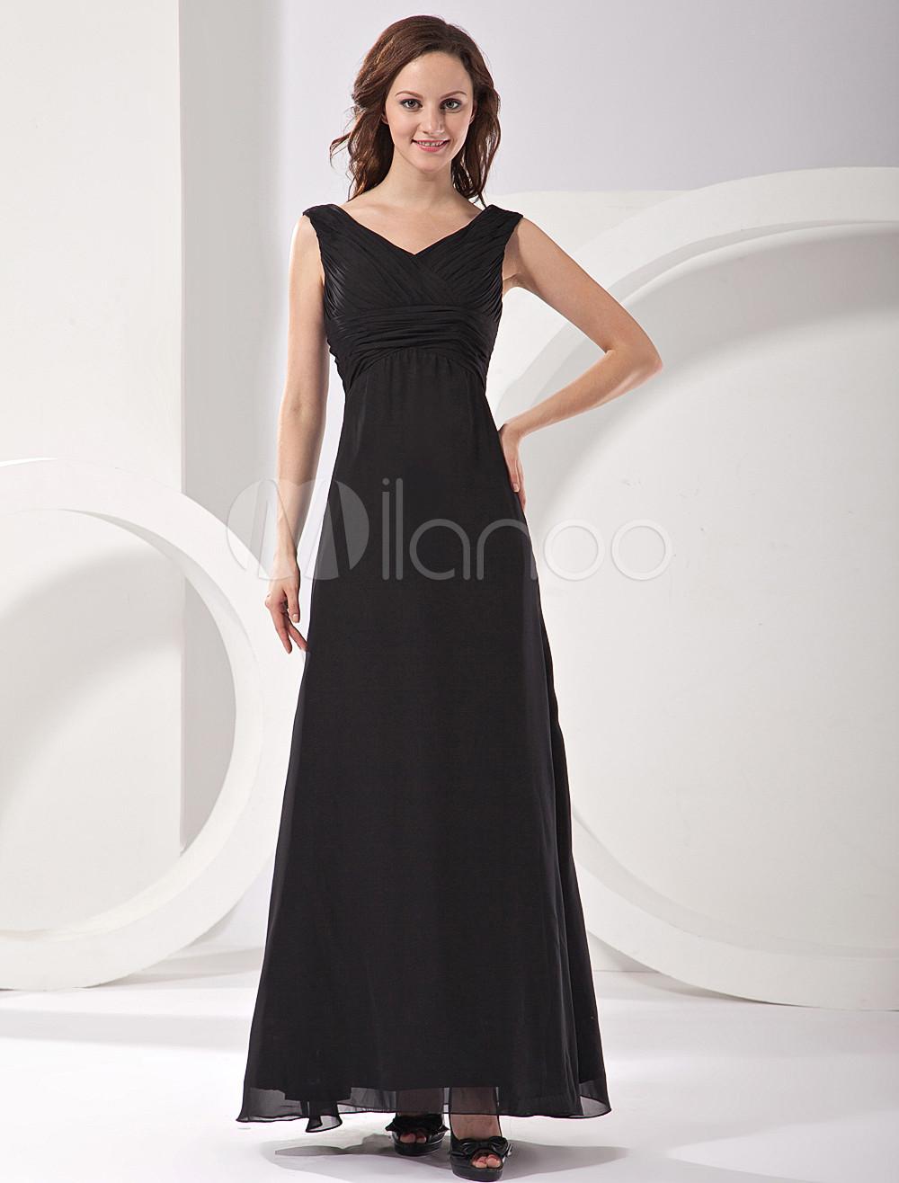 Elegant Black V-Neck Chiffon Satin Mother Of Bride And Groom Dress