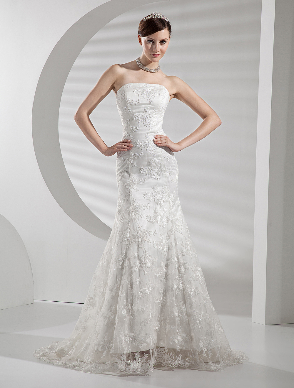 Lace Wedding Dresses Strapless Mermaid Bridal Gown Trumpet