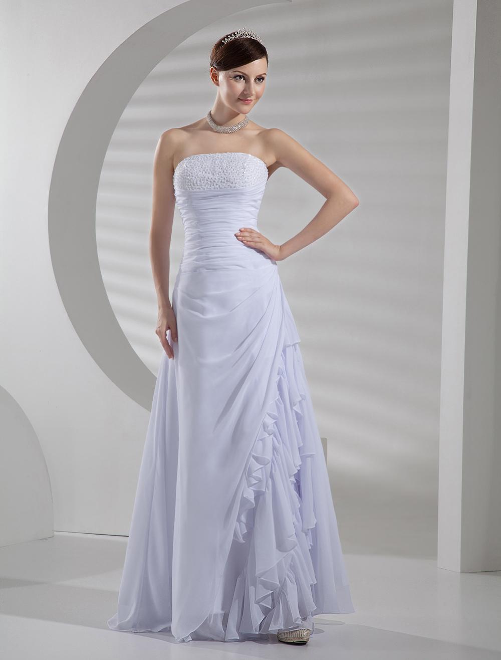 White Chiffon A Line Wedding Dress
