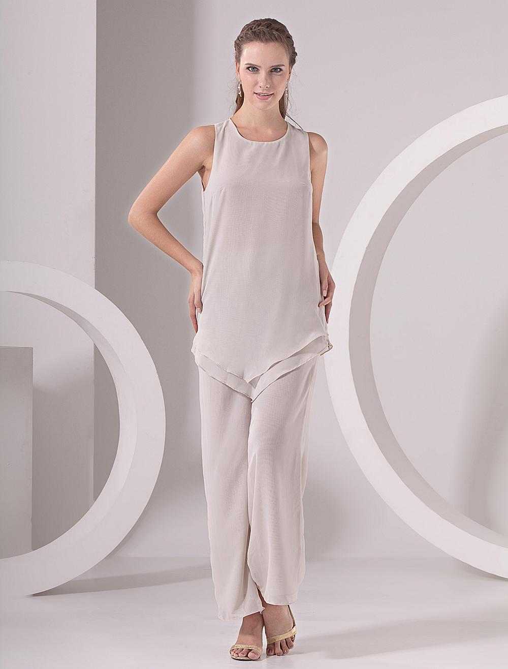 Eccezionale Abito per la madre della sposa grigio in chiffon con pantaloni  BY07