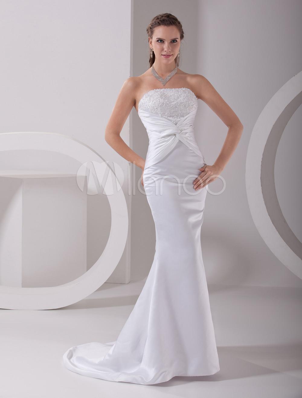 White Wedding Dress Mermaid Strapless Twisted Satin Dress