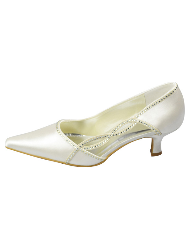 Ivory Paillette Satin Wedding Pumps