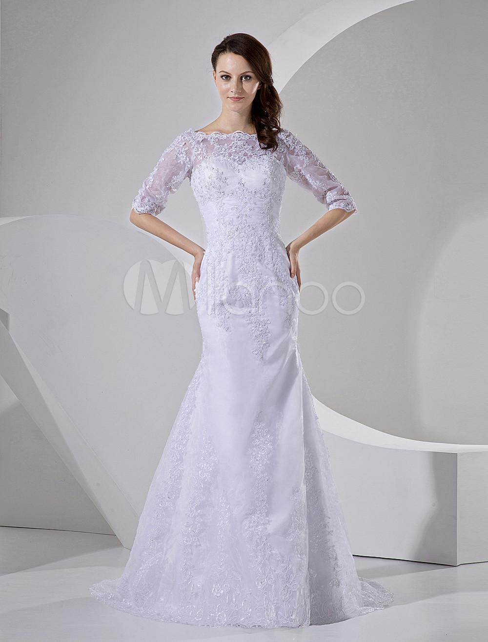 White Wedding Dress Mermaid Bateau Neck Lace Beading Half Sleeve Bridal Dress With Train