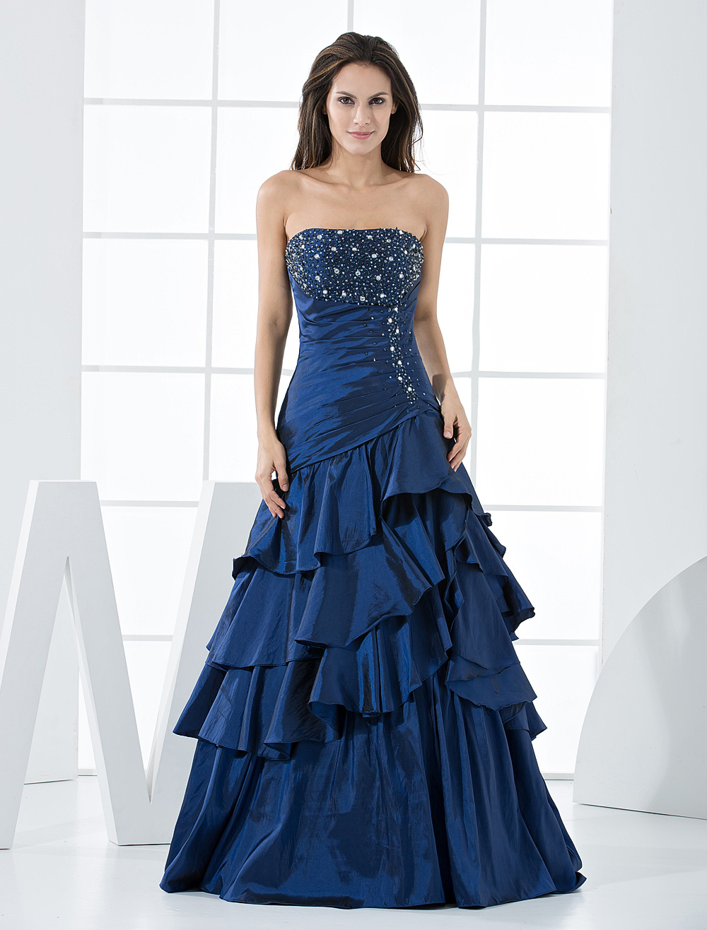 Royal Blue Taffeta Strapless Floor Length Prom Dress